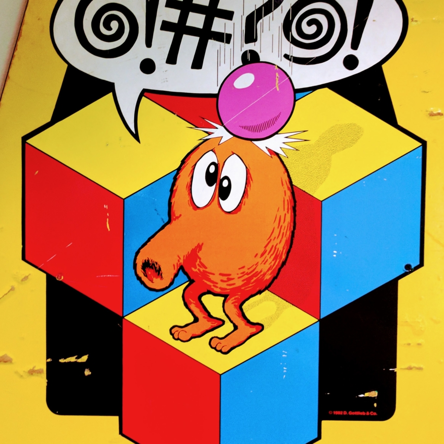 QBert from side of old arcade machine
