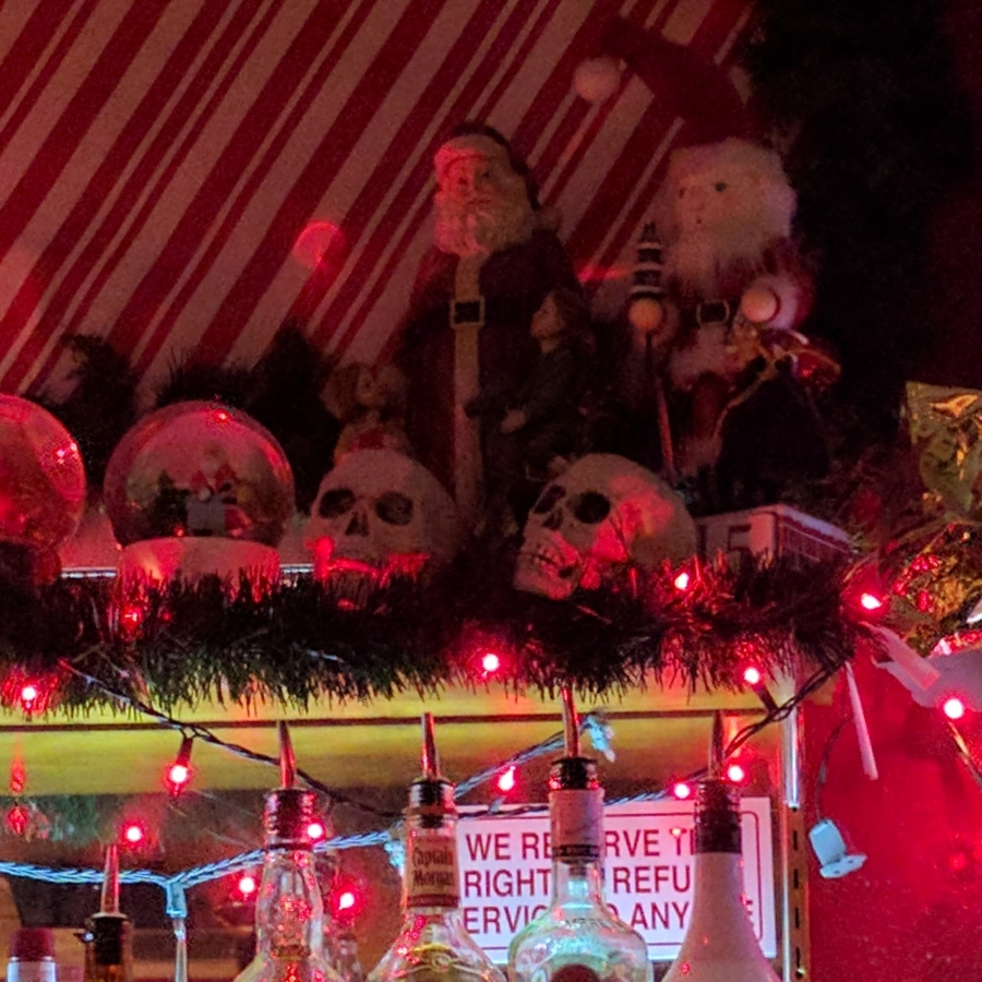 christmas display with skulls