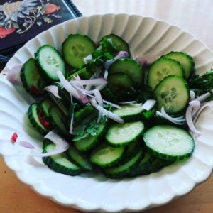 cucumber and red onion