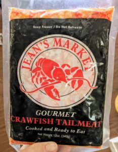 package of frozen crawfish tails